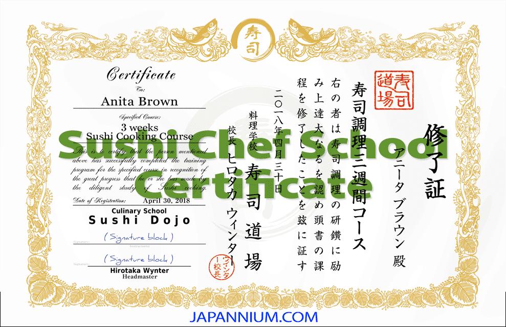 Sushi Chef School Certificate Design