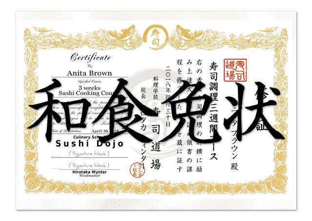 Sushi Chef School Certificate Design Service