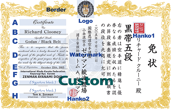 Customizable items at Custom Certificate Design