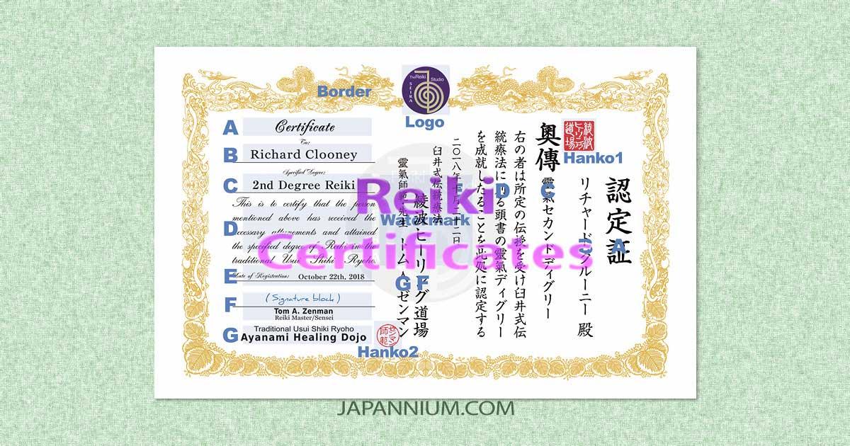 Japanese Style Reiki Certificates Design - JAPANNIUM